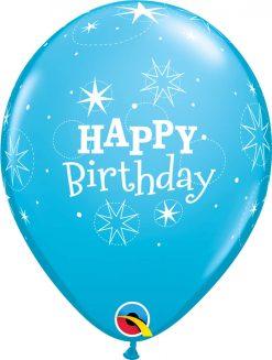 """11"""" / 28cm 6szt Birthday Sparkle Robin's Egg Blue Qualatex #17936"""