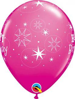 """11"""" / 28cm 6szt Birthday Sparkle Wild Berry Qualatex #17937"""