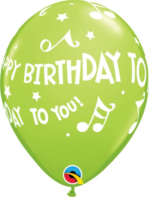 """11"""" / 28cm Happy Birthday To You - Music Notes Carnival Asst Qualatex #18461-1"""