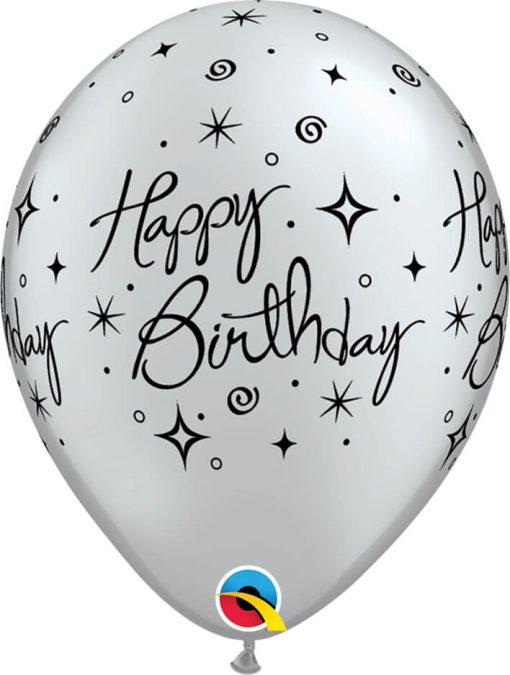"11"" / 28cm Birthday Elegant Sparkles & Swirls Silver Qualatex #19139-1"