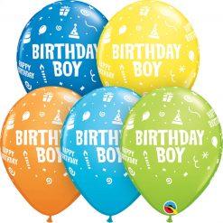 "11"" / 28cm Birthday Boy Asst of Lime Green, Yellow, Dark Blue, Orange, Robin's Egg Blue Qualatex #20265-1"