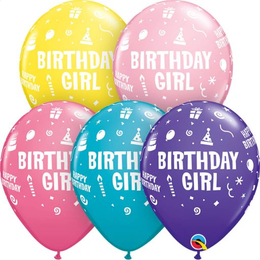 """11"""" / 28cm Birthday Girl Asst of Pink, Tropical Teal, Yellow, Purple Violet, Rose Qualatex #20266-1"""
