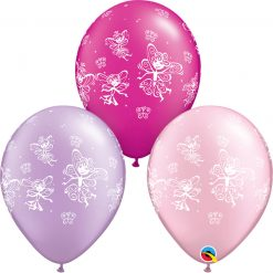 "11"" / 28cm Fairies & Butterflies Asst of Pearl Lavender, Pearl Magenta, Pearl Pink Qualatex #21573-1"