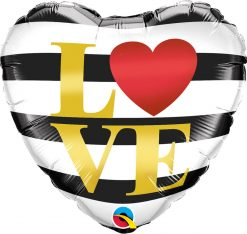18″ / 46cm L(Heart)VE Horizontal Stripes Qualatex #21748