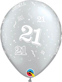 """11"""" / 28cm 21-A-Round Asst of Silver, Onyx Black Qualatex #25065-1"""