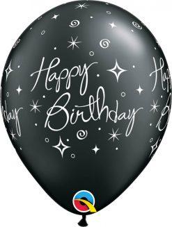 "11"" / 28cm Birthday Elegant Sparkles & Swirls Asst of Silver, Pearl Onyx Black Qualatex #25235-1"