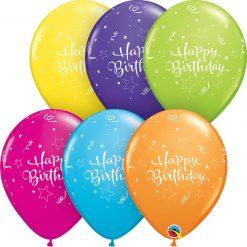 "11"" / 28cm Birthday Shining Star Tropical Asst Qualatex #25586-1"