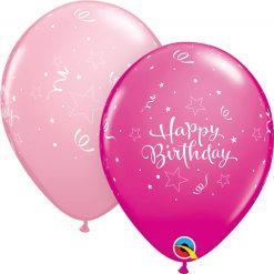 "11"" / 28cm Birthday Shining Star Asst of Wild Berry, Pink Qualatex #25588-1"
