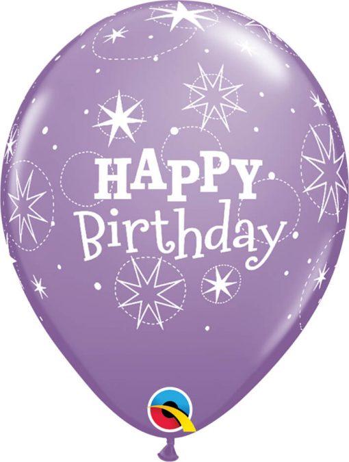 "11"" / 28cm Birthday Sparkle Asst of Spring Lilac, Purple Violet Qualatex #38857-1"