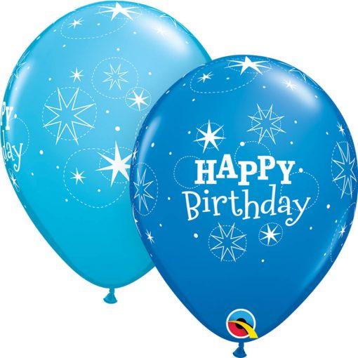 "11"" / 28cm Birthday Sparkle Asst of Dark Blue, Robin's Egg Blue Qualatex #38858-1"
