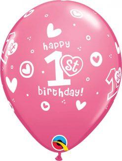 "11"" / 28cm 1st Birthday Circle Hearts - Girl Pink Qualatex #41185-1"