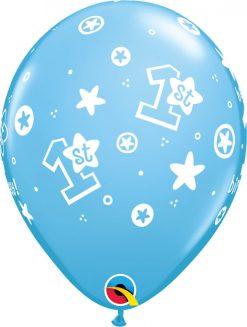 "11"" / 28cm 1st Birthday Circle Stars - Boy Pale Blue Qualatex #41186-1"