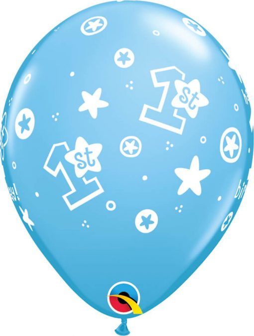 "11"" / 28cm 1st Birthday Circle Stars - Boy Pale Blue Qualatex #41186-1"