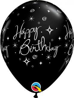 "11"" / 28cm 6szt Birthday Elegant Sparkles Onyx Black Qualatex #42999"