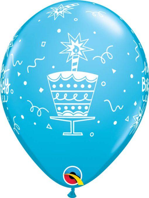 "11"" / 28cm 6szt Birthday Cake & Candle Retail Asst Qualatex #43059"