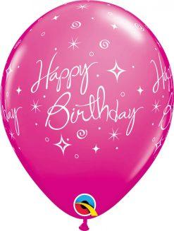 "11"" / 28cm 6szt Birthday Elegant Sparkles & Swirls Retail Asst Qualatex #43075"