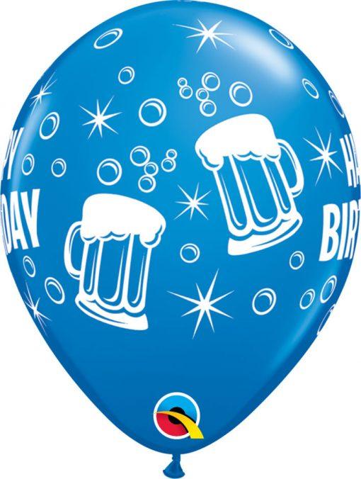 "11"" / 28cm Birthday Beer Mugs Asst of Dark Blue, Robin's Egg Blue Qualatex #44881-1"