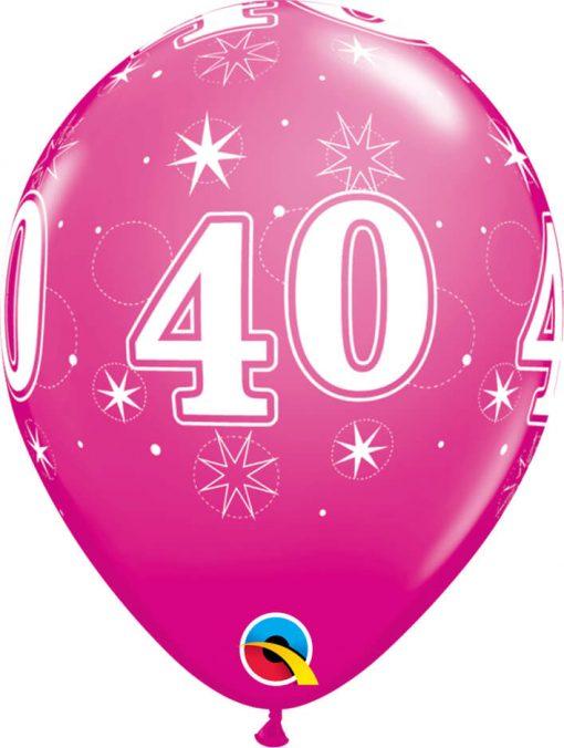 "11"" / 28cm 40 Sparkle-A-Round Wild Berry Qualatex #44926-1"