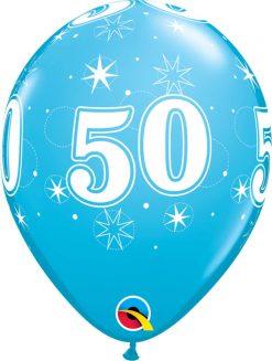 "11"" / 28cm 50 Sparkle-A-Round Robin's Egg Blue Qualatex #44927-1"
