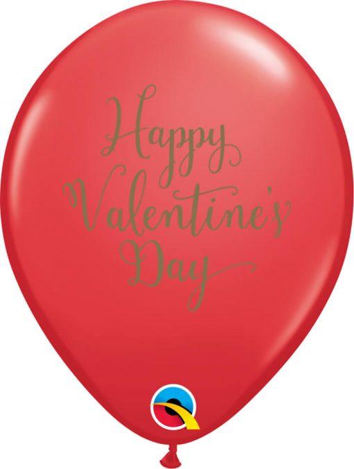 "11"" / 28cm Happy Valentine's Day Script Asst of Red, Pink Qualatex #48203-1"