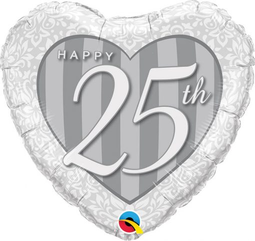 "18"" / 46cm Happy 25th Damask Heart Qualatex #49109"