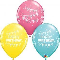 "11"" / 28cm Birthday Pennants & Dots Asst of Yellow, Caribbean Blue, Rose Qualatex #50209-1"