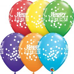 "11"" / 28cm Birthday Confetti Dots Bright Rainbow Asst. Qualatex #52962-1"