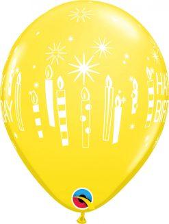"11"" / 28cm Birthday Candles & Starbursts Bright Rainbow Asst Qualatex #52963-1"