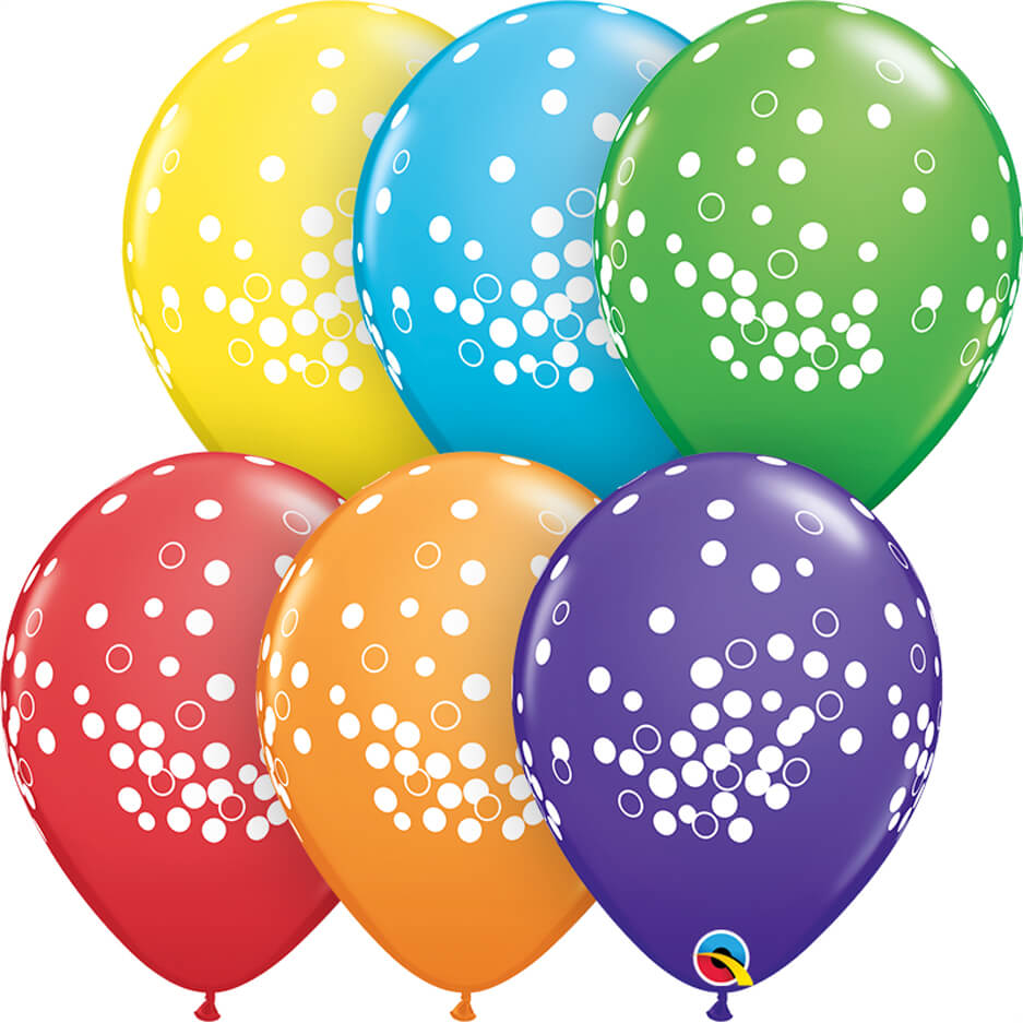 "11"" / 28cm Confetti Dots Bright Rainbow Asst. Qualatex #52964-1"