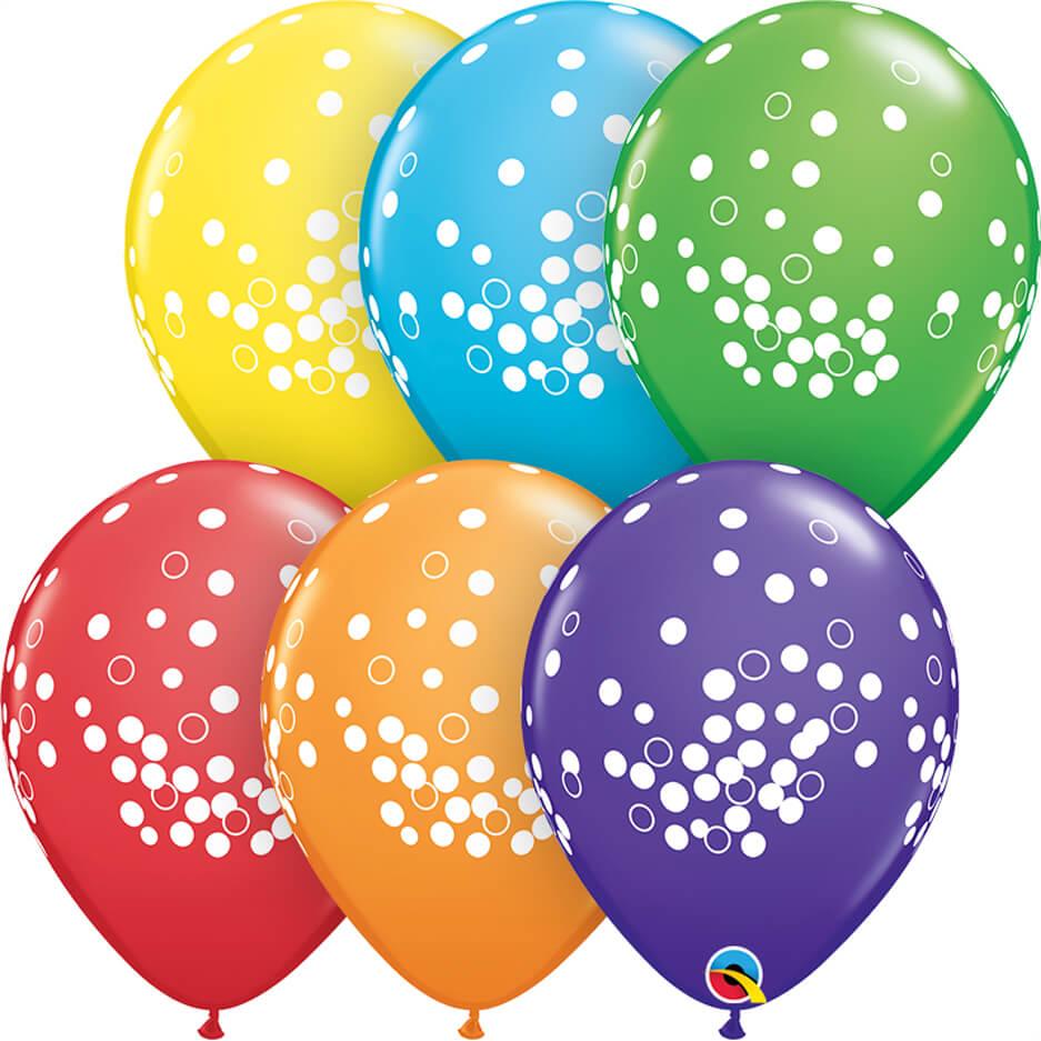 """11"""" / 28cm Confetti Dots Bright Rainbow Asst. Qualatex #52964-1"""