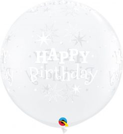 3' / 91cm Birthday Sparkle Diamond Clear Qualatex #52971-1