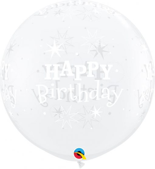 3' / 91cm Birthday Sparkle Diamond Clear Qualatex #52971-1