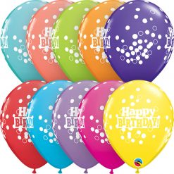 "11"" / 28cm 6szt Birthday Confetti Dots Retail Asst Qualatex #52975"