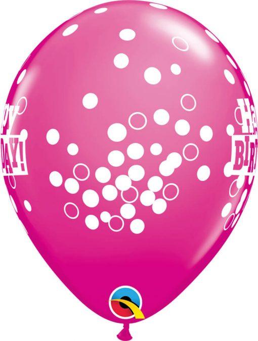 """11"""" / 28cm 6szt Birthday Confetti Dots Retail Asst Qualatex #52975"""