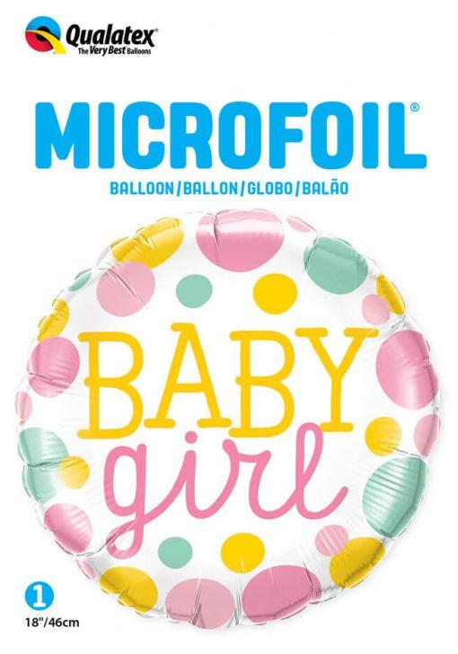 "18"" / 46cm Baby Girl Dots Qualatex #55388"