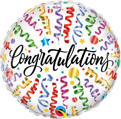 18″ / 46cm Congratulations Streamers Qualatex #55812