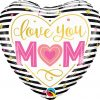 "18"" / 46cm Love You M(HEART)M Stripes Qualatex #55824"