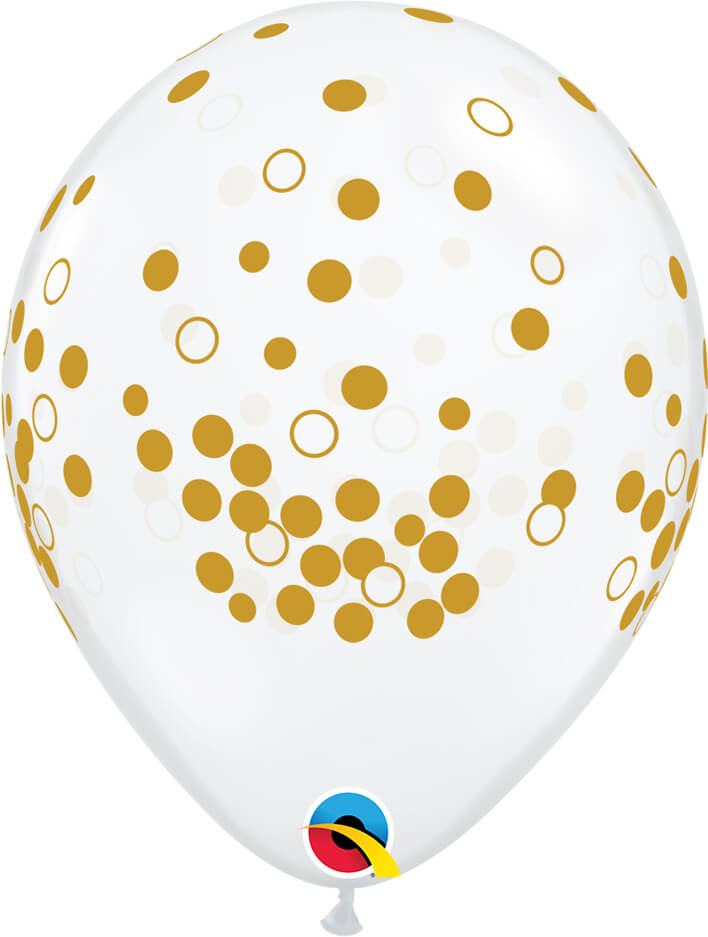 "11"" / 28cm Confetti Dots Diamond Clear Qualatex #56844-1"