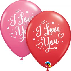 "11"" / 28cm I Love You Hearts Script Asst of Red, Rose Qualatex #57055-1"