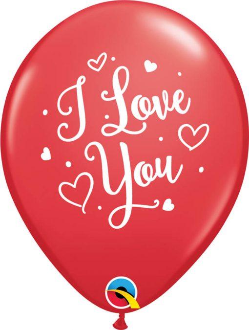 "11"" / 28cm I Love You Hearts Script Asst of Red, Rose Qualatex #57055-1"