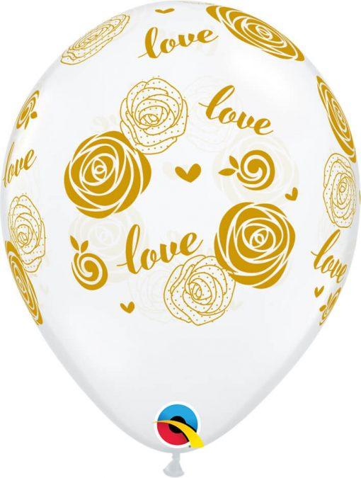 "11"" / 28cm Love Roses Diamond Clear Qualatex #57056-1"