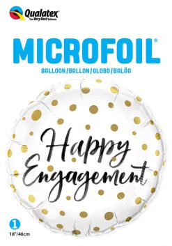 "18"" / 46cm Happy Engagement Gold Dots Qualatex #57310"