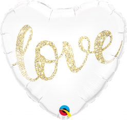 "18"" / 46cm Love Glitter Gold Qualatex #57322"