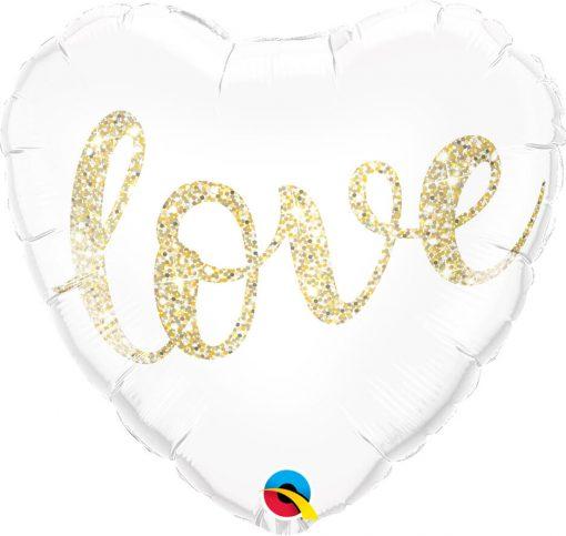 "18"" / 46cm Love Glitter Gold Qualatex #57322"