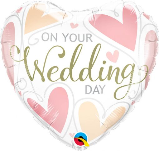 "18"" / 46cm On Your Wedding Day Hearts Qualatex #57325"