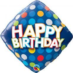 18″ / 46cm Birthday Blue & Colorful Dots Qualatex #57331