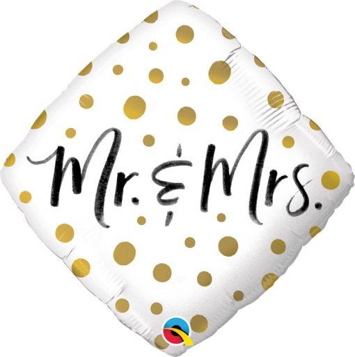 "18"" / 46cm Mr. & Mrs. Gold Dots Qualatex #57334"