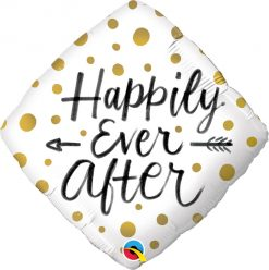 """18"""" / 46cm Happily Ever After Gold Dots Qualatex #57337"""