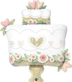 "38"" / 96cm Glitter Gold Wedding Cake Qualatex #57377"