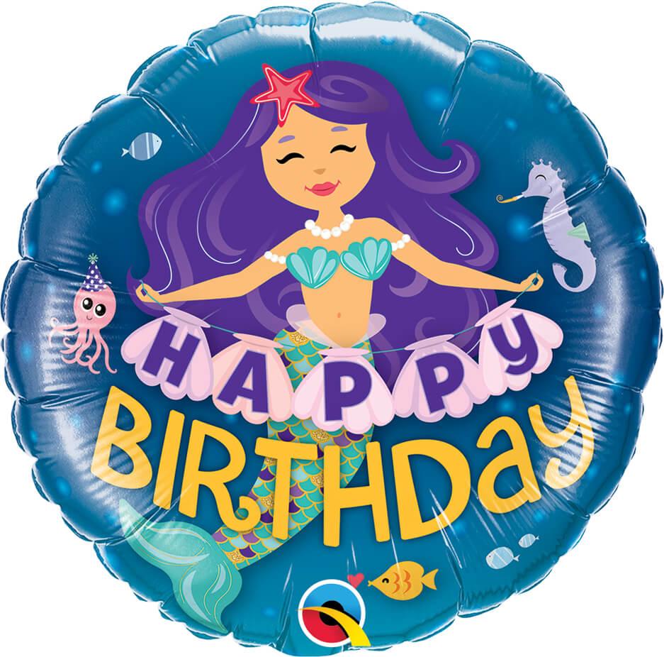 18″ / 46cm Happy Birthday Mermaid Qualatex #57799